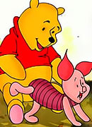 Winnie's girlfriend choking on Piglet's cock and swallowing gooey jizz