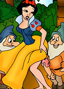 Snow White with tempting milkers choking on dong and getting facialized with creamy cum