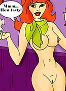 Daphne with green vibrator gives head to Yabba-Doo's dick and fucked