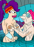 Leela gets succulent nipples sucked by Philip J. Fry's penis and takes a facial blast