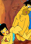 Kinky Wilma Flintstone getting sprayed in sperm on her face and getting off
