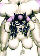 Boobed CatWoman with long legs was plugged and puts creamy cumload
