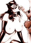 Adorable CatWoman with double d juggs gets her tender pussy penetrated by Robin's dick and gets sprayed in sperm