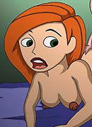 Lucky Kim Possible with blue strap-on getting screwed by rock schlong