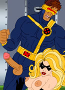 Squeezing her tits handcuffed Nightcrawler makes her slit wet