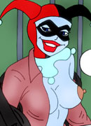 Dark eyed and pretty Harley Quinn with sporting titties