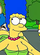 Marge sharing Moe's pierced wang and taking cumshots facial